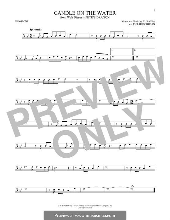 Candle on the Water (from Walt Disney's Pete's Dragon): para trombone by Al Kasha, Joel Hirschhorn