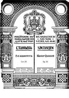 Piano Quintet in G Minor, Op.30: Partitura completa by Sergei Taneyev