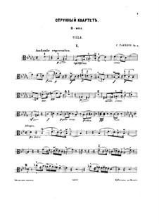 String Quartet No.1 in B Flat Minor, Op.4: parte viola by Sergei Taneyev