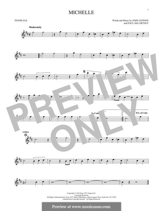 Michelle (The Beatles): para saxofone tenor by John Lennon, Paul McCartney