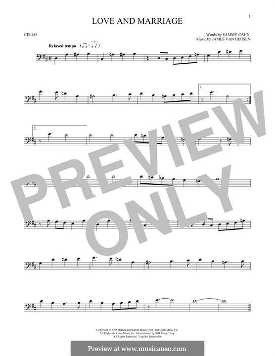 Love and Marriage (Frank Sinatra): para violoncelo by Jimmy Van Heusen