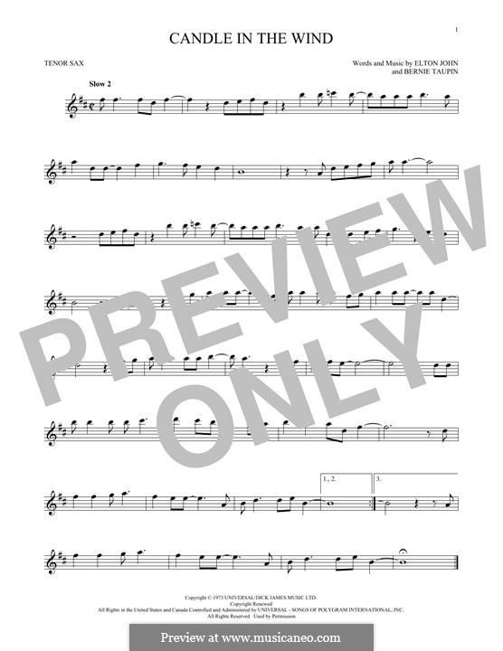Candle in the Wind: para saxofone tenor by Elton John