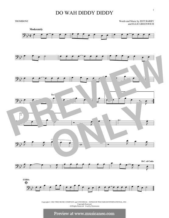 Do Wah Diddy Diddy (Manfred Mann): para trombone by Ellie Greenwich, Jeff Barry