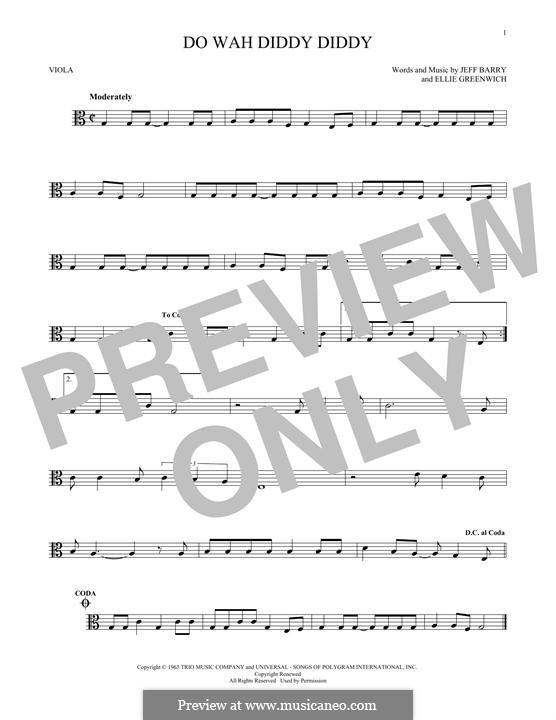 Do Wah Diddy Diddy (Manfred Mann): para viola by Ellie Greenwich, Jeff Barry