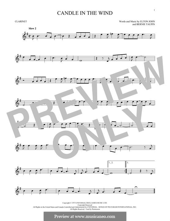 Candle in the Wind: para clarinete by Elton John