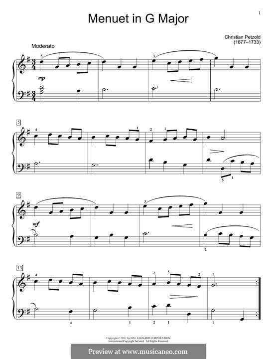 Minuet in G major from The notebook of Anna Magdalena Bach, BWV Anh. 114: arranjo para piano by Christian Petzold