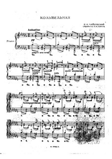 Six Romances, TH 95 Op.16: No.1 Cradle Song (for piano) by Pyotr Tchaikovsky