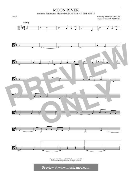 Moon River (from Breakfast at Tiffany's): para viola by Henry Mancini