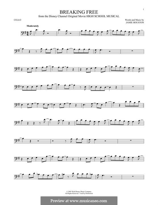 Breaking Free (from High School Musical): para violoncelo by Jamie Houston