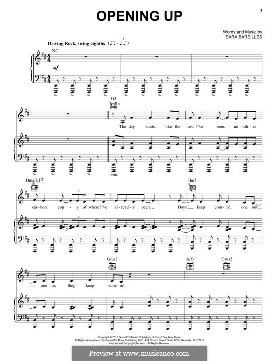 Opening Up: For any instrument by Sara Bareilles