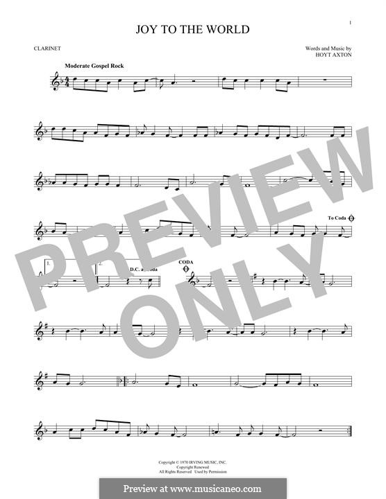 Joy to the World (Three Dog Night): para clarinete by Hoyt Axton