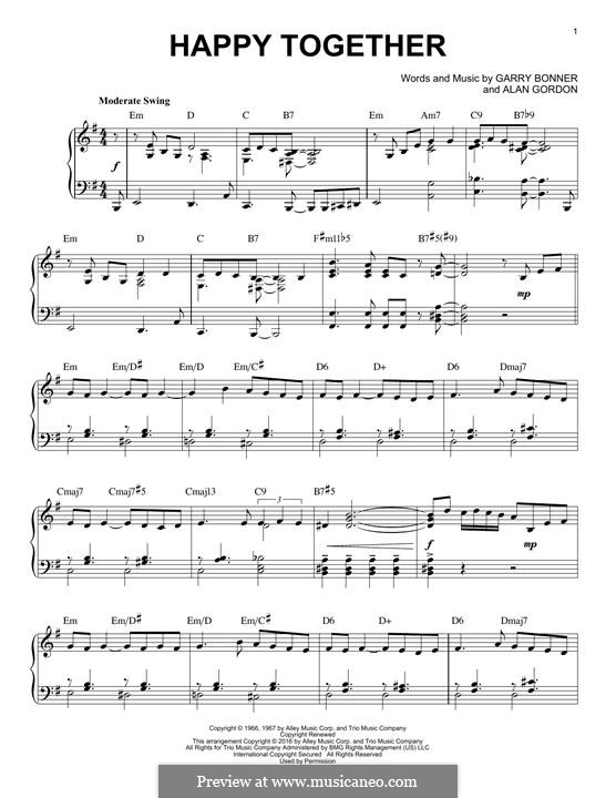 Happy Together (The Turtles): Para Piano by Alan Gordon, Garry Bonner