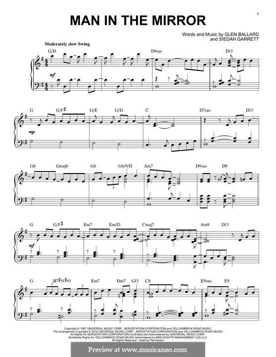 Man in the Mirror: Para Piano by Glen Ballard, Siedah Garrett