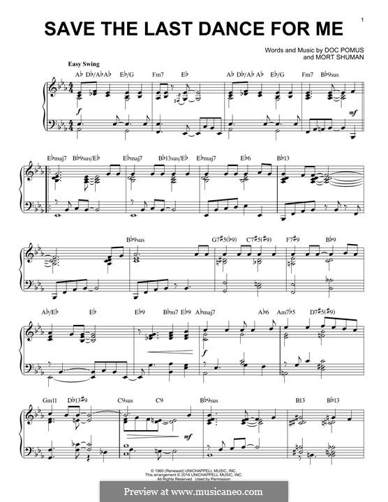 Save the Last Dance for Me (The Drifters): Para Piano by Doc Pomus, Mort Shuman