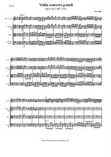 Six Violin Concertos, Op.6: Concerto No.3 in G Minor – score and all parts, RV 318 by Antonio Vivaldi