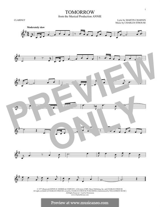Tomorrow (from Annie): para clarinete by Charles Strouse