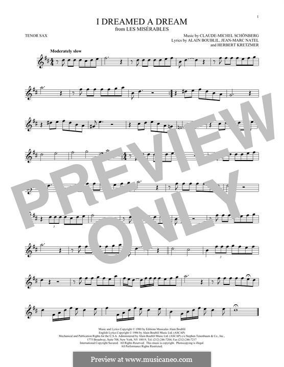 I Dreamed a Dream: para saxofone tenor by Claude-Michel Schönberg