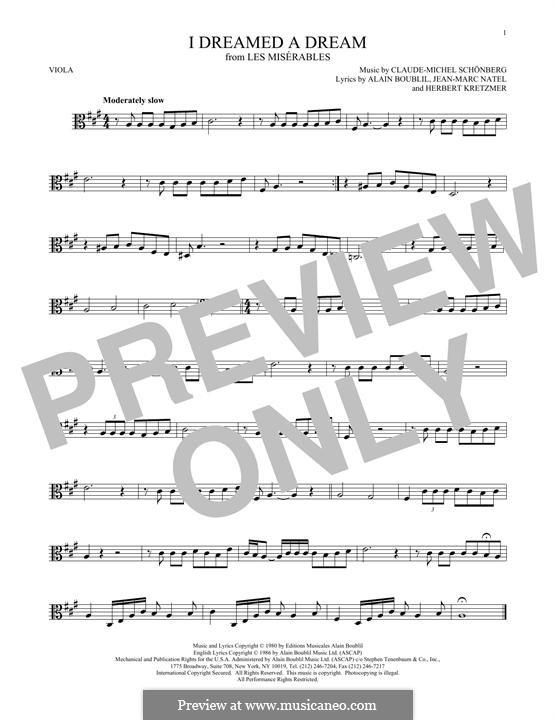 I Dreamed a Dream: para viola by Claude-Michel Schönberg