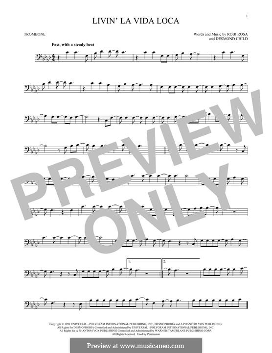 Livin' la vida loca (Ricky Martin): para trombone by Desmond Child, Robi Rosa