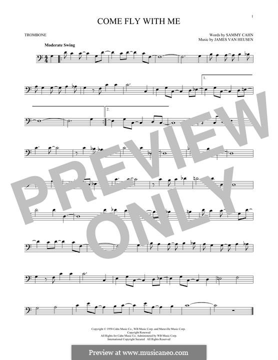 Come Fly with Me (Frank Sinatra): para trombone by Jimmy Van Heusen
