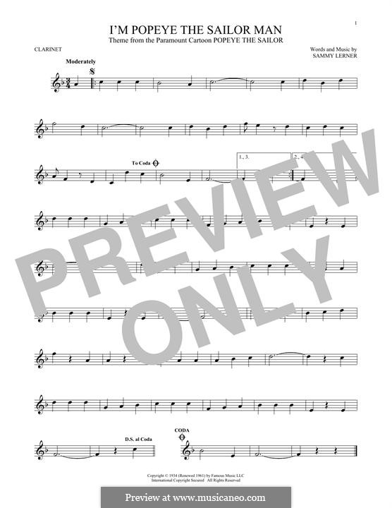 I'm Popeye the Sailor Man (from the Paramount Cartoon Popeye the Sailor): para clarinete by Sammy Lerner