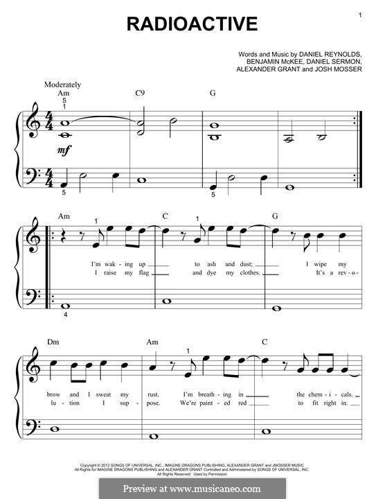 Radioactive (Imagine Dragons): Para Piano by Alexander Grant, Benjamin McKee, Daniel Reynolds, Daniel Sermon, Josh Mosser