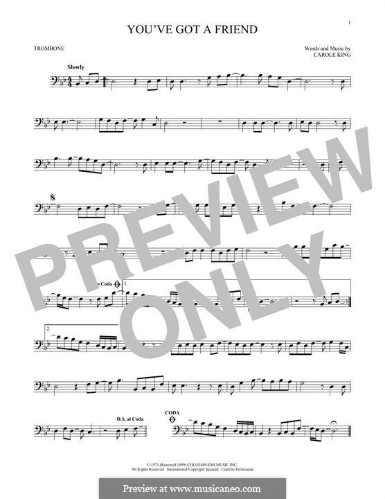 You've Got a Friend: para trombone by Carole King