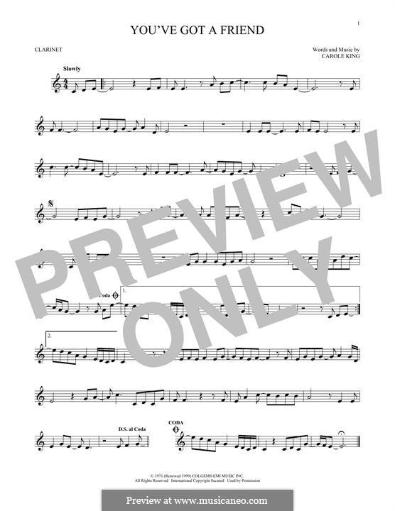 You've Got a Friend: para clarinete by Carole King