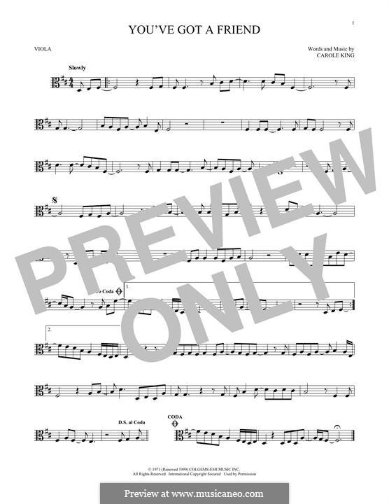 You've Got a Friend: para viola by Carole King