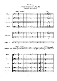 Pezzo Capriccioso for Cello and Orchesrta, TH 62 Op.62: Partitura completa by Pyotr Tchaikovsky