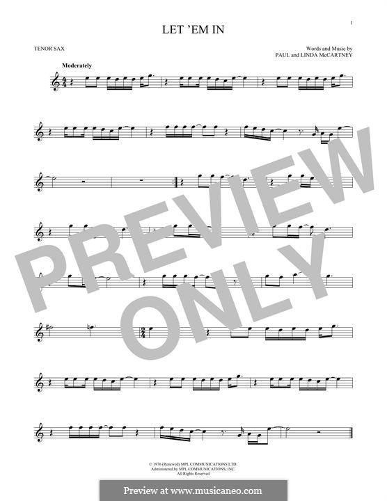 Let 'Em in (Wings): para saxofone tenor by Linda McCartney, Paul McCartney