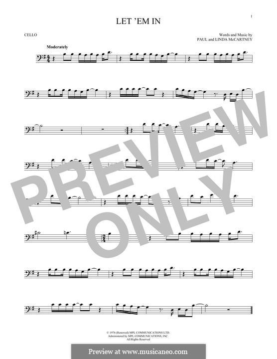 Let 'Em in (Wings): para violoncelo by Linda McCartney, Paul McCartney