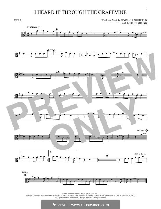 I Heard it Through the Grapevine: para viola by Barrett Strong, Norman J. Whitfield