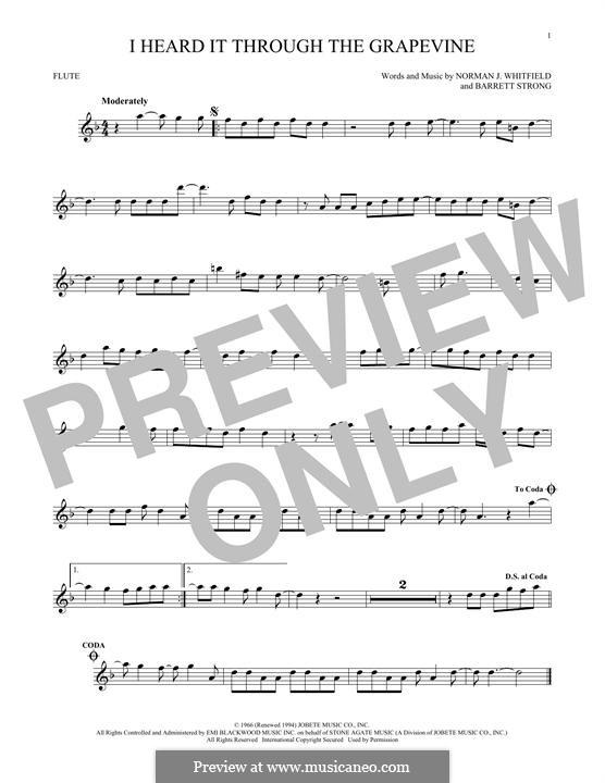 I Heard it Through the Grapevine: para flauta by Barrett Strong, Norman J. Whitfield