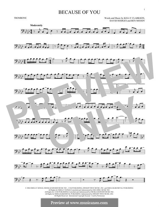 Because of You: para trombone by Ben Moody, David Hodges, Kelly Clarkson
