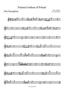 National Anthem of Poland: para Saxofone Alto by Michal Kleofas Oginski