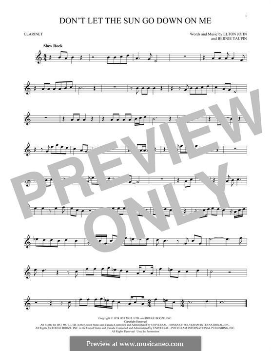 Don't Let the Sun Go Down on Me: para clarinete by Elton John