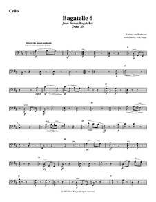 Bagatelles, Op.33: Bagatelle No.6, for string orchestra - cello part by Ludwig van Beethoven
