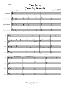 Atalanta, HWV 35: Care Selve, for quartet recorder by Georg Friedrich Händel
