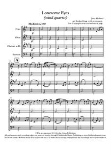 Lonesome Eyes: Para quarteto de sopro by Jerry Holland