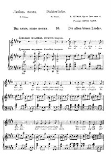 No.16 The Old Bad Songs: partitura piano-voz(texto alemão e russo) by Robert Schumann