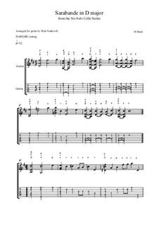 Suite for Cello No.6 in D Major, BWV 1012: Sarabande. Version for guitar by Johann Sebastian Bach