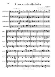 It came upon the midnight clear: For clarinet quartet (3 B flats and 1 bass) by folklore