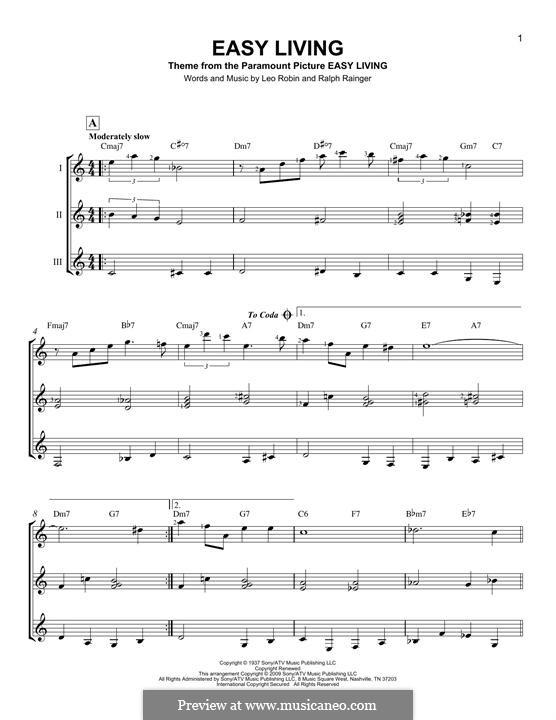 Easy Living (Billie Holiday): For any instrument by Leo Robin, Ralph Rainger