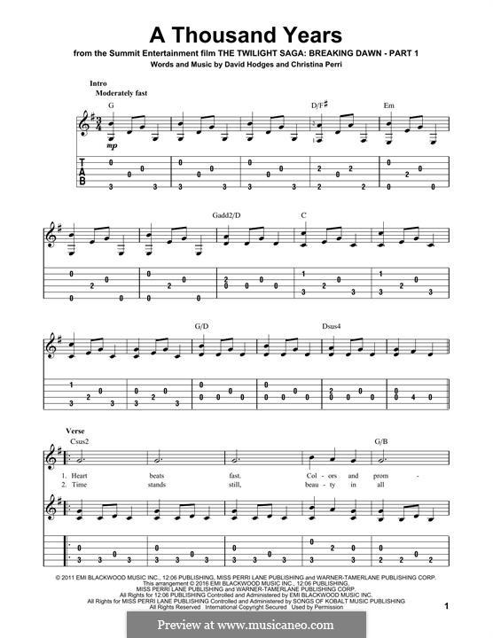 A Thousand Years: Para guitarra com guia by Christina Perri, David Hodges