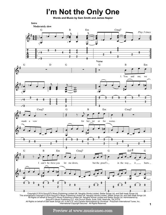 I'm not the Only One: Para guitarra com guia by Samuel Smith, James Napier