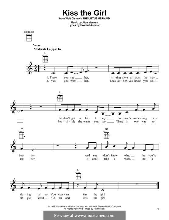 Kiss the Girl (from The Little Mermaid): para ukulele by Alan Menken