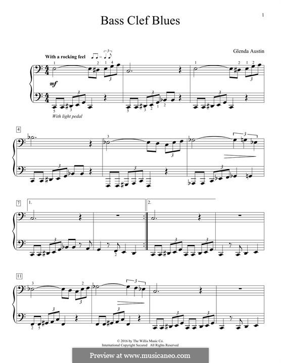 Bass Clef Blues: Para Piano by Glenda Austin
