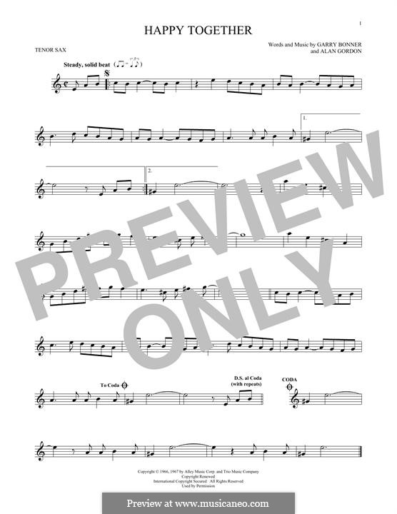Happy Together (The Turtles): para saxofone tenor by Alan Gordon, Garry Bonner