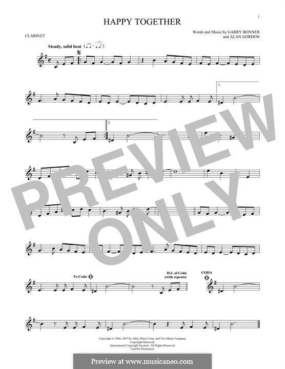 Happy Together (The Turtles): para clarinete by Alan Gordon, Garry Bonner